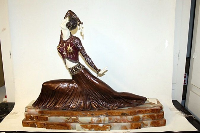 """Bronze and Ivory Sculpture """"Clare"""" after D.H. Chiparus"""