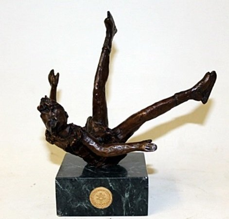 """Bronze Sculpture """" Falling """" By Dennis Smith. (18CI)"""