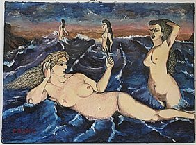 Oil Painting On Canvas By Paul Delvaux