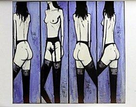"""Lithograph """"three Angels"""" After Bernard Buffet"""