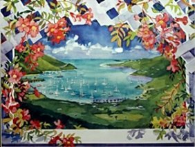 "Lithograph ""coral Bay"" After Julia Kelly"