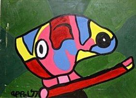 Head 1977' - Oil Painting On Canvas - Karel Appel