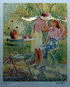 """Lithograph """"Mother & Daughter"""" after Claude Fossoux"""