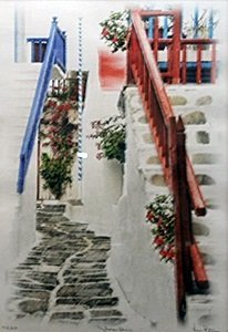 "Giclee ""mykonos Stairs"" After Kris Peterson"