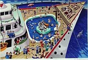 "Serigraph ""cruise Ship"" After Yuvai Mattler"