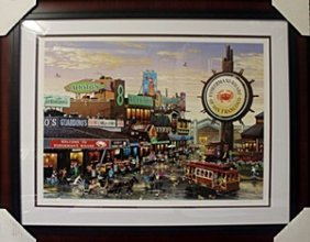 """Lithograph """"fishermans Wharf"""" By Alexander Chen"""