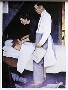 "Lithograph ""freedom Of Fear"" After Norman Rockwell"