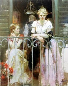 """Giclee On Paper """"sunday At The Balcony"""" After Pino"""