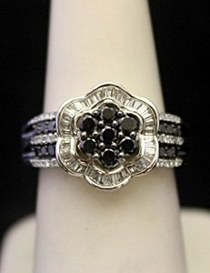 Lady's Fancy Silver Ring with Black & White Diamonds