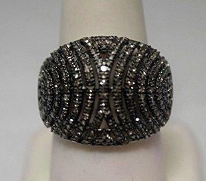 Fancy Champagne Diamonds Silver Ring