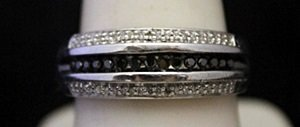 Fancy Silver Ring with Black & White Diamonds