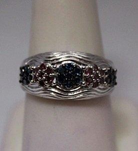 Very Fancy Red & Blue Diamonds Silver Ring