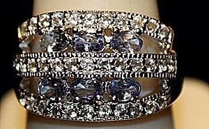 Beautiful Tanzanites & White Sapphires SS Ring. (255L)