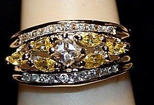 Beautiful Golden & White Topaz SS Ring. (536L)