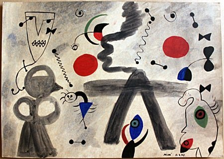 Character Circus Oil Painting on Paper after Joan Miro