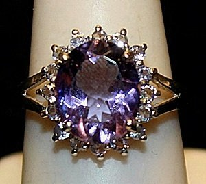Fancy Amethyst with Blue Topaz SS Ring. (187L)