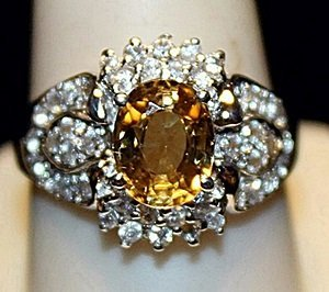 Gorgeous Golden Sapphire & White Sapphires SS Ring.