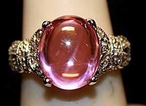 Beautiful Pink Lab Sapphire & White Topaz SS Ring.