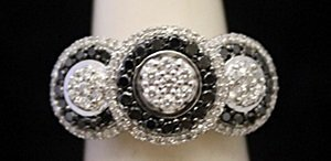Gorgeous Silver Ring with Black & White Diamonds