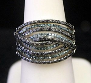 Very Fancy Silver Ring with Lab Alexandrites