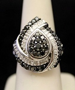 Gorgeous Silver Ring with Black & White Diamonds