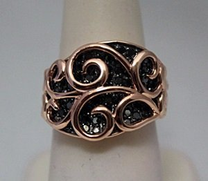 Fine 14kt Rose Gold over Silver Black Diamonds Ring