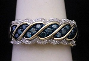 Fancy 14kt over Silver Ring with Lab Alexandrites &