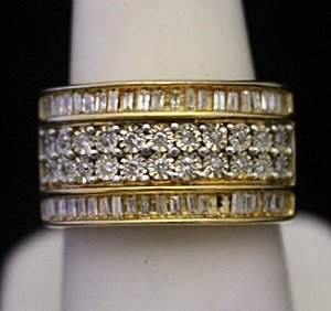 Fancy 14kt over Silver Ring with Diamonds & Baguettes