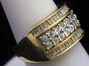 Fancy 14kt over Silver Ring with Diamonds & Baguettes - 2