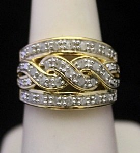 Very Fancy 14kt over Silver Ring with Diamonds