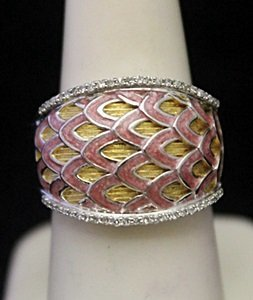 Gorgeous 14kt over Silver Ring with Diamonds