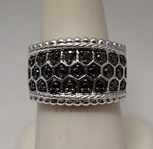 Beautiful Unisex Black Diamonds Silver Ring
