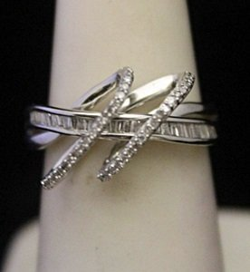 Very Fancy Silver Ring with Diamonds & Baguettes