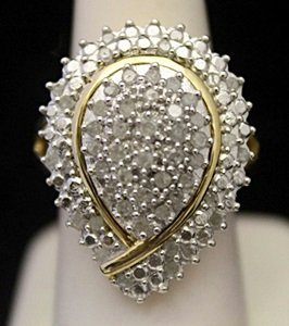 Lady's Fancy 14kt over Silver Ring with Clsuter