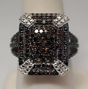 Fancy Red Diamonds Silver Ring