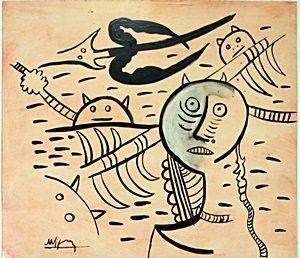 Mujer Con Nino  Oil on Paper  Wilfredo Lam