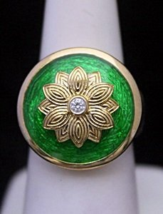 Lady's 14kt over Silver Ring with Emerald Enamel &