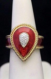 Fancy 14kt over Silver Ring with Ruby Enamel & Diamonds