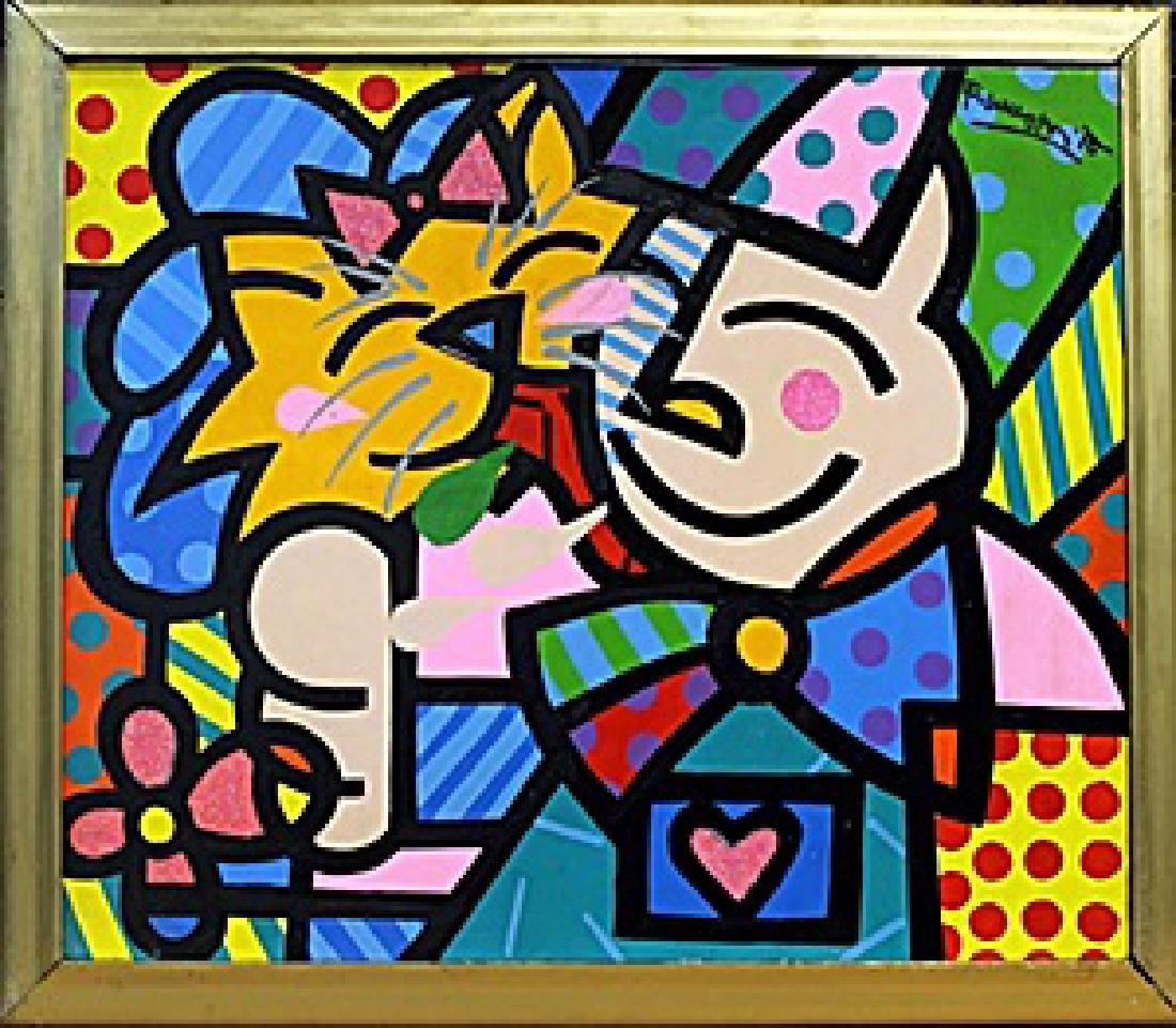 Girl & Cat  Oil Painting on Canvas  Romero Britto
