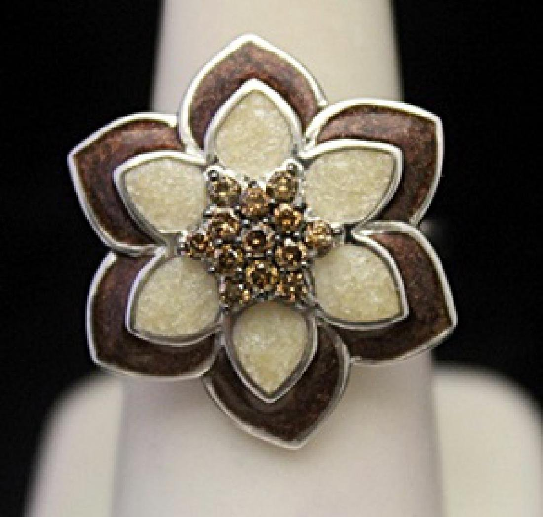 Gorgeous Silver Flower Ring with Cognac Diamonds