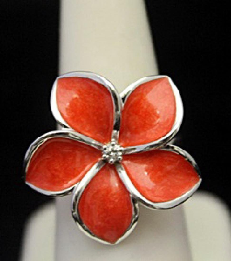 Beautiful Silver Flower Shape Ring with Diamond