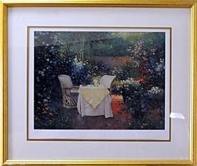 "authentic serigraph ""Garden Pleasures"" after Sergon"