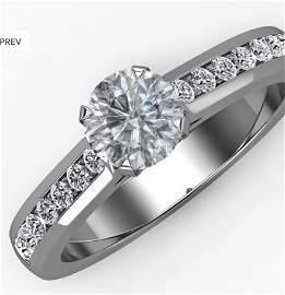 14K WHITE GOLD ROUND CUT DIAMOND ENGAGEMENT RING 0.80CT