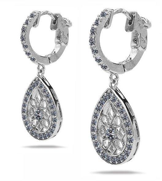 WOMEN'S VINTAGE DIAMOND DROP EARRINGS 14 KT WHITE GOLD