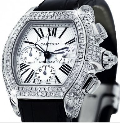 DIAMOND CARTIER ROADSTER XL W62020X6 CHRONOGRAPH WATCH