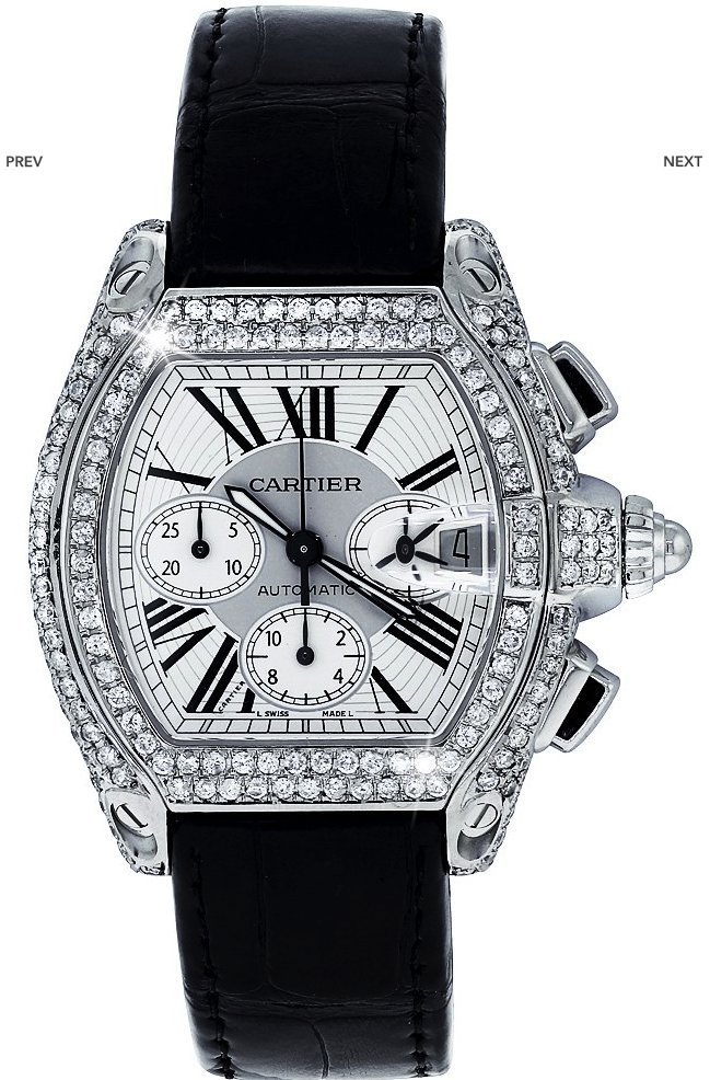 DIAMOND CARTIER ROADSTER XL W62020X6 CHRONOGRAPH WATCH - 2