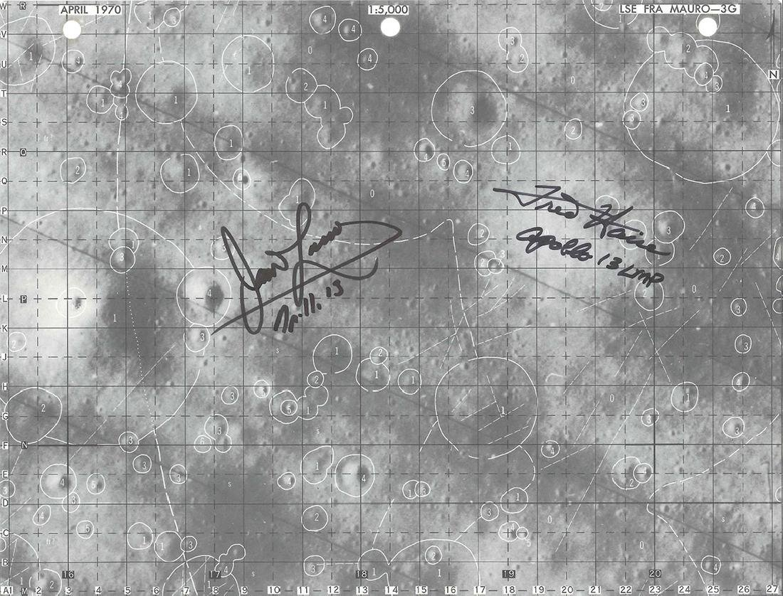 Apollo 13 - Lunar Surface Map LSE FRA MAURO - Signed by
