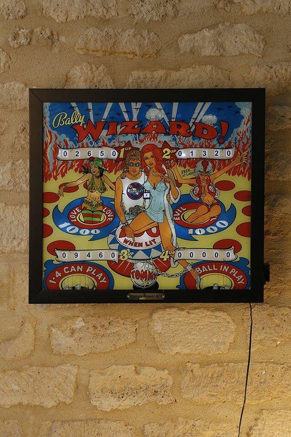 Bally USA Flipper back glass Wizard Tommy 1975
