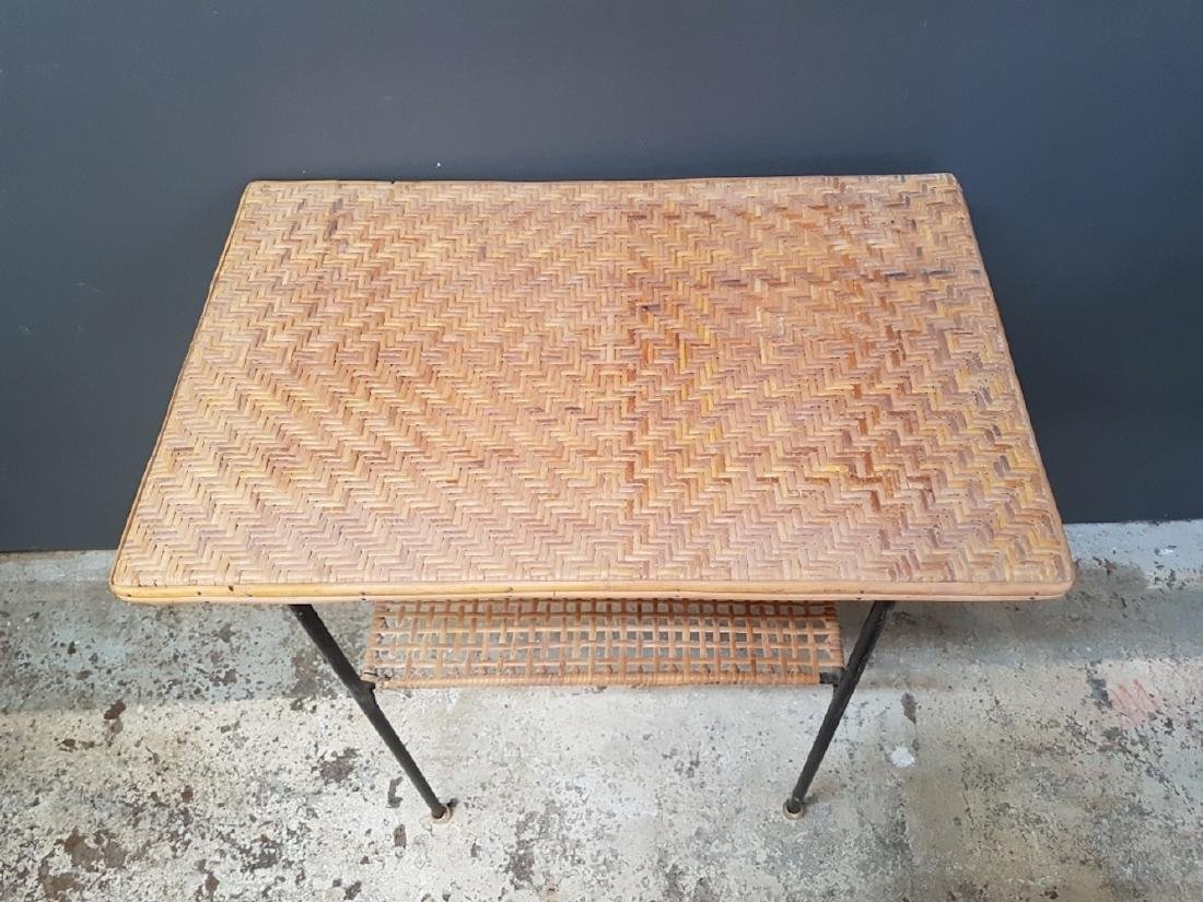 Vintage Atomic Rattan Side Table - 3