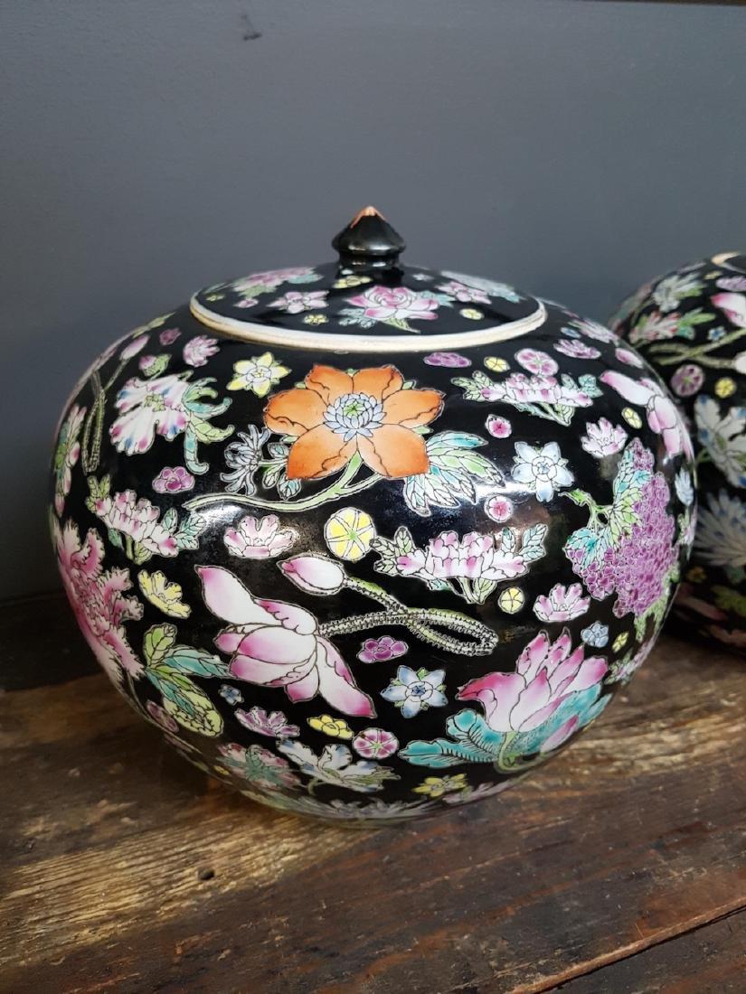 Pair of Chinese Famille Noir Ginger Jars - 2